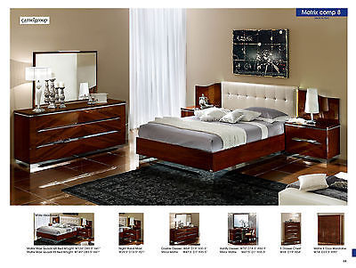 ESF Matrix Bedroom Set Queen 5 Piece Bed Modern Contemporary Made in Italy