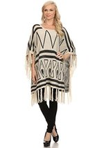 ICONOFLASH Women's Casual Fringed Tribal Sweater Knit Poncho, Beige - $54.44