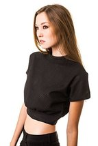 ICONOFLASH Women's Casual Black Knit Crop Top, Medium - $27.71