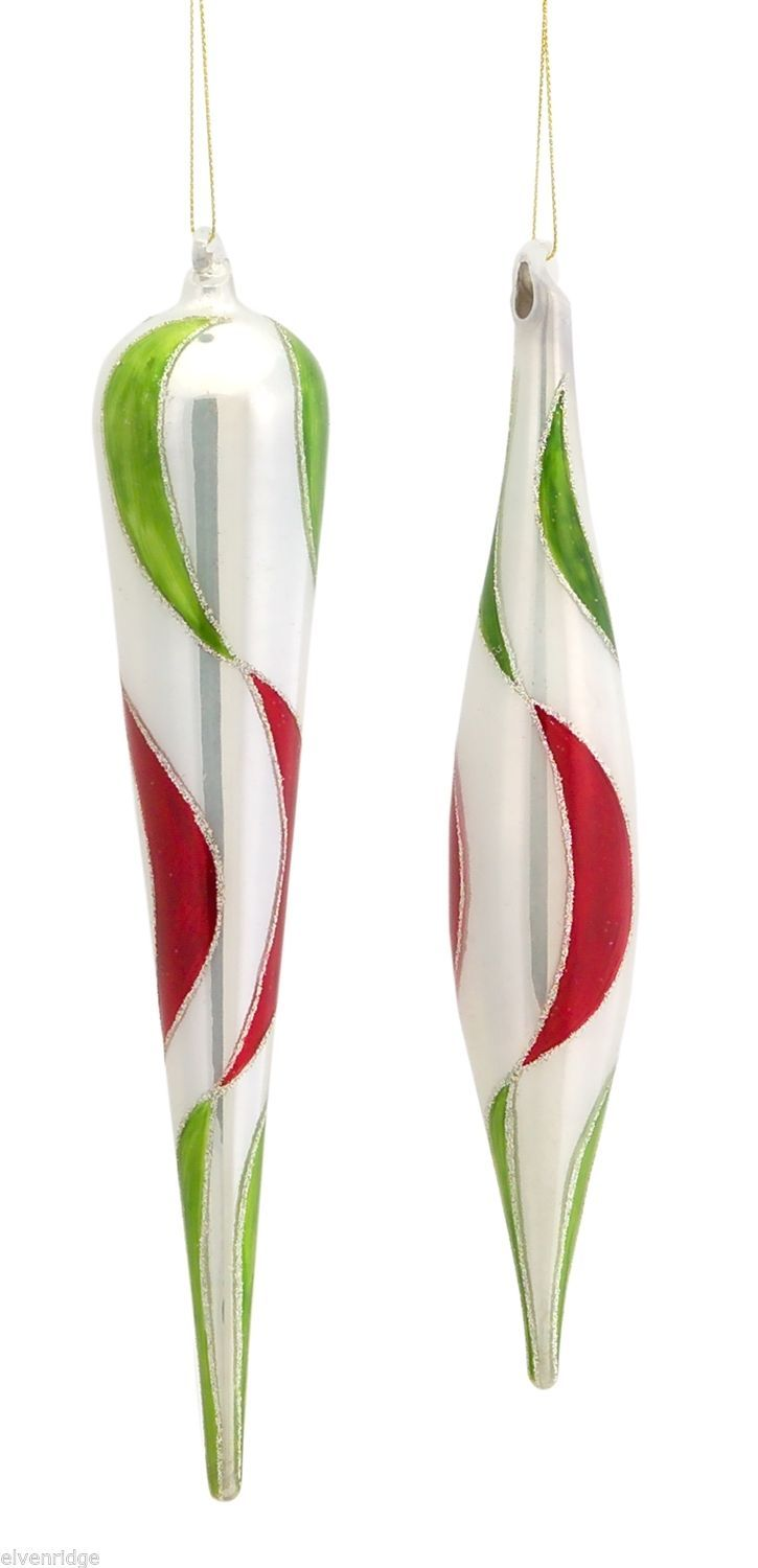 Holiday glass ornament Contemporary White red and green swirl drop