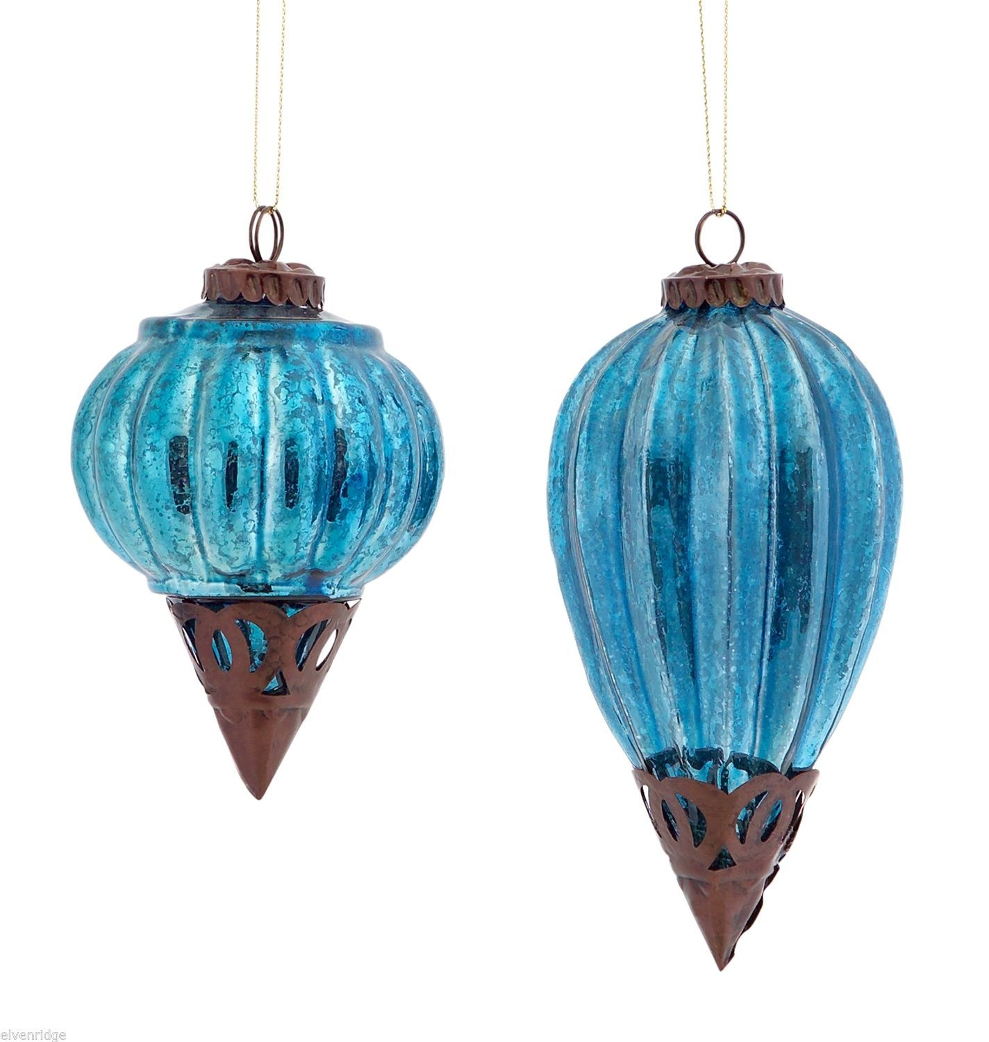 New Glass Metal Ornaments 5 & 7 4 Inches High Set of 2 teal blue vintage look