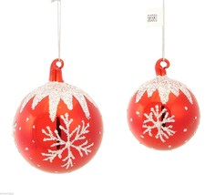 Red Blown Glass ornament snow glitter frosted snowflakes Set of Two