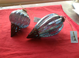 New Glass Metal Ornaments 5 & 7 4 Inches High Set of 2 teal blue vintage look image 2