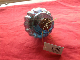 New Glass Metal Ornaments 5 & 7 4 Inches High Set of 2 teal blue vintage look image 5