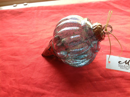 New Glass Metal Ornaments 5 & 7 4 Inches High Set of 2 teal blue vintage look image 4
