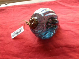 New Glass Metal Ornaments 5 & 7 4 Inches High Set of 2 teal blue vintage look image 6