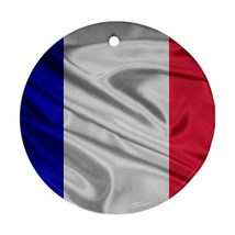 Christmas Round Ornament - 3d France French Flag Round Procelain Ornament - $3.45