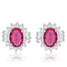 Chrisalee 3.3ct Ruby CZ Rhodium Classic Stud Earrings - $23.00