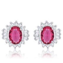 Chrisalee 3.3ct Ruby CZ Rhodium Classic Stud Earrings - $23.00