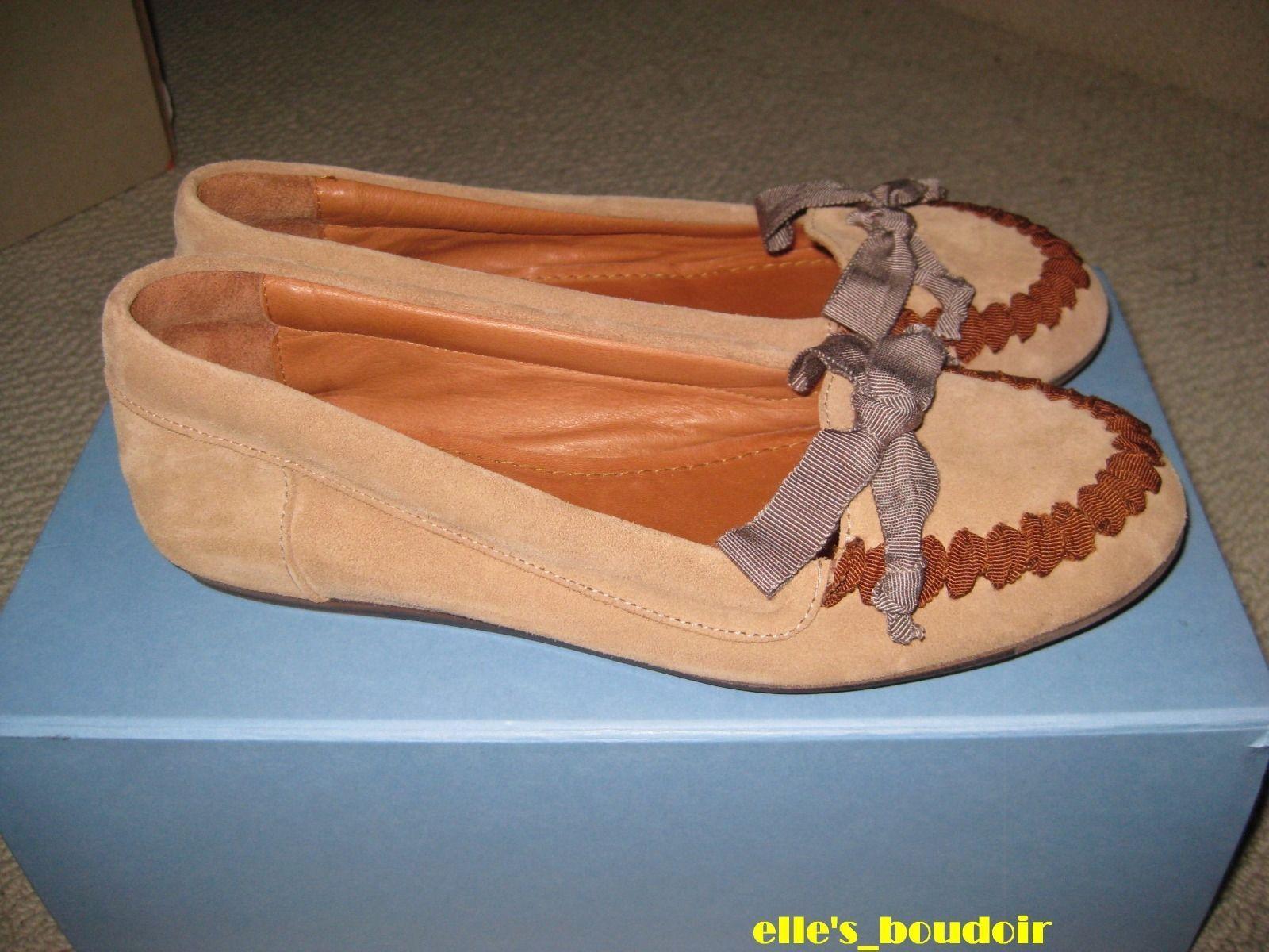 NIB LANVIN Paris Brown Moccasins Flats Shoes 37 Woman's US size 7 $565