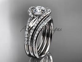 14k white gold diamond wedding ring, with a Moissanite center stone ADLR... - $3,245.00