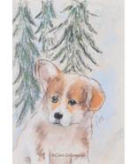 Welsh Pembroke Corgi Puppy Art Pastel Drawing Solomon - $60.00
