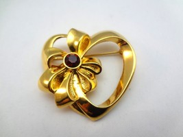 Avon Gold Plated Heart Pin Set With A Deep Red Rhinestone - $5.94