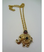 Gold Plated Elephant Combination Pin Necklace - $11.78