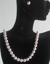 Rose Pink Pearls Handcrafted Swarovski Necklace Stud Pearls Earrings - $36.78