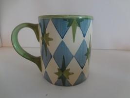 Pottery Barn Allegra Green & Blue Coffee Cup Mug - $16.99