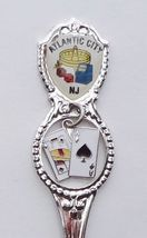 Collector Souvenir Spoon USA New Jersey Atlantic City Gambling Emblem Charm Map - $6.99