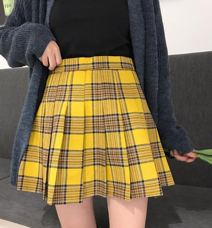 Women Girl YELLOW Pleated Plaid Skirt Plus Size School Style Pleated Plaid Skirt