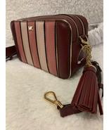 MK Michael Kors Small Pocket Camera Bag Multi Pink Stripe Burgundy Msrp ... - $169.95
