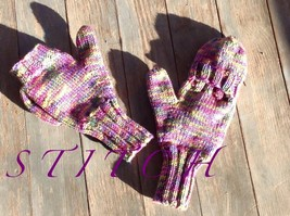 Handmade Knit Mittens with Flap for Fingers - $25.00