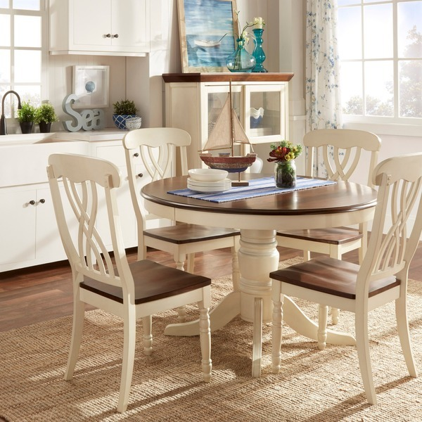 Country Dining Table With Bench: 5 Piece Country Antique White Dining Set Home 1 Table 4