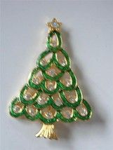 Vintage Green Enamel Rhinestone Xmas Tree Brooch Pin Gold tone Loop ASO - $19.73