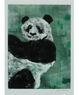 Panda Bear Monotype Wildlife Art Solomon - $45.00