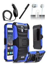 Alcatel One Touch Pop Astro 5042T Blue Heavy Duty Armor Hybrid Dual Layer Case - $11.99