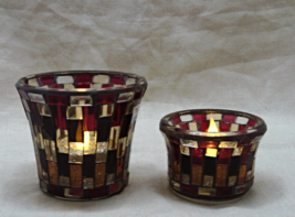 Two Stained Mosaic YANKEE CANDLE Votive/Tea-Light Candle Holders - £8.18 GBP