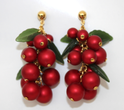 Red Mistletoe Dangling Christmas Earrings - $9.95