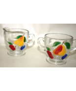 4 Hand painted Fruit & Blue Flower Glass Creame... - $9.95