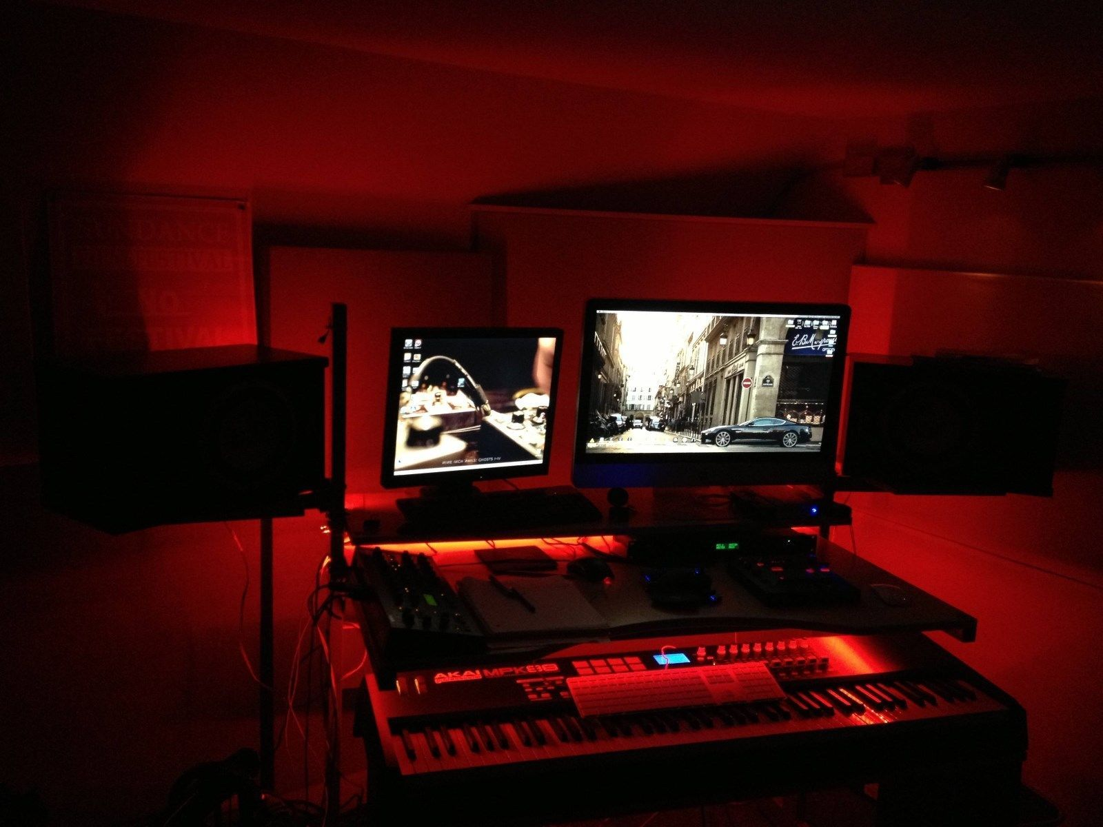 Led Gaming Desk Lights New 2016 Dual Monitor Stand