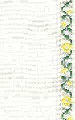 """27ct Fanciful Flowers Antique White/Green Yellow banding 4.5""""w x 36"""" 100% linen"""