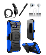 HTC Desire 520 Blue Heavy Duty Armor Hybrid Dual Layer Case Cover w/ Kic... - $11.99