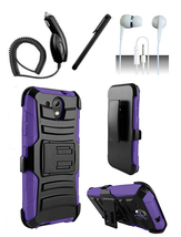 HTC Desire 520 Purple Heavy Duty Armor Hybrid Dual Layer Case Cover w/ Kickstand - $11.99