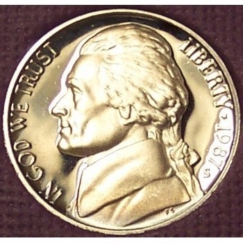 Primary image for 1987-S Deep Cameo Proof Jefferson Nickel #0891