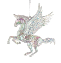KURT ADLER IRIDESCENT ACRYLIC UNICORN w/WINGS PEGASUS UNICORN CHRISTMAS ... - $8.88