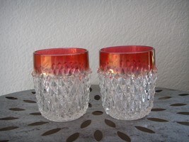 2 Vintage Indiana Glass Diamond Point Ruby Band Cranberry Tumblers Glass... - $19.95