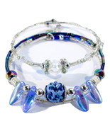 Crystal And Blue Handmade Bracelet Pair Beaded Fashion Jewelry Accessory - $18.00