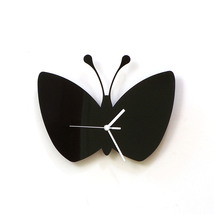 Butterfly - black acrylic wall clock, interior wall decor, silhouette clock - $39.00