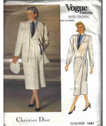 Vogue 1447 Pattern Christian Dior 14 designer coat jacket skirt shirt ca... - $14.77