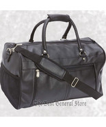 "Black 17"" Faux Leather Tote Bag Carry On Luggage with Zippered Closure O... - $29.99"