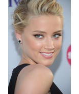 Fashion Black CZ 14k White Platinum Plated Celebrity Amber Heard Stud Ea... - £40.59 GBP