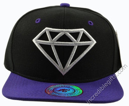 Diamond Black Hat Purple Brim White Embroidered Snapback Hat - $6.92