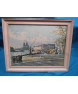 "Vtg Marc Markovitch Watercolor Print Art Waterfront Ship 14.5"" by 18.5"" - $111.45"