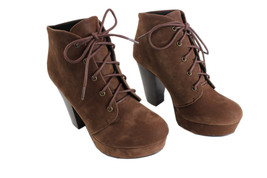 New Soda Agenda-h Lady Lace Up Suede Ankle Boots Hi-Chunky Heel Platform Bootie - $27.99