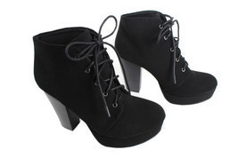 Soda Agenda-h Lady Lace Up Suede Ankle Boots Hi-Chunky Heel Platform Boo... - $27.99
