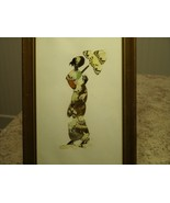 Unique Vintage Framed Butterfly Wing African Art Picture Lady Holding Um... - $49.01