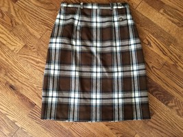 Talbots Petites Womens Brown White Plaid 100% Wool A-Line Skirt - Size 2P - $42.06