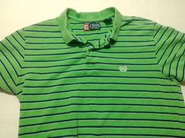 Chaps Polo Shirt Size M Striped Green Blue White Men's Short Sleeve Cotton - $12.82